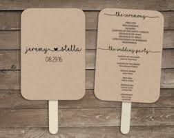 Fan Style Wedding Programs Wedding Program Fan Template Printable Rustic Wedding Fan Editable