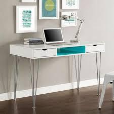 Sleek Desk | sleek 48 modern white office desk with aqua blue accents