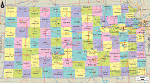 map of counties in kansas detailed political map of kansas ezilon maps