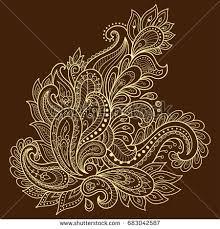 henna flower template mehndi style stock vector 683042587