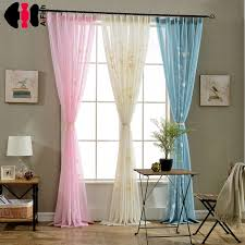 Sheer Blue Curtains Embroidery Flower Design Finished Rustic Organza Tulle Fabric