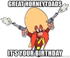 great horneytoads it s your birthday yosemite sam yippy ki yay