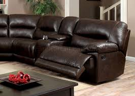 motion sectional sofa cm6822br in brown leatherette