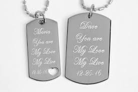 his and hers dog tags engraved couples dog tag with heart necklace set
