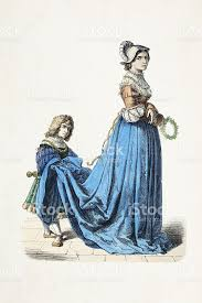 french aristocratic woman with gofer traditional clothing 16th
