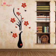 vase home decor wall stickers acrylic 3d plum flower vase wall stickers home decor