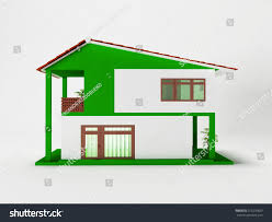 nice two story houses nice simple twostory house 3d rendering stock illustration