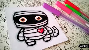 halloween drawings how to draw cute mummy by garbi kw youtube
