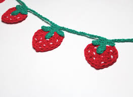 strawberry garland crochet bunting summer party decoration