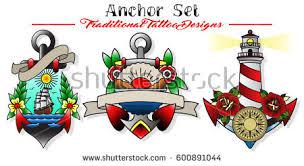 vector anchor set traditional designs stock vector