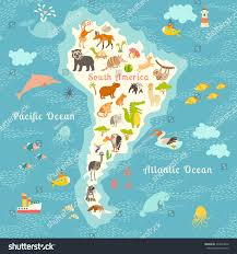 animals world map south america south stock illustration 433244242
