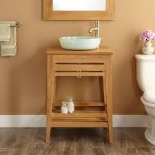 Teak Bathroom Cabinet Brown Orange Bathroom Decoration Using Soft Orange Bathroom Wall