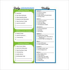 11 sample weekly chore chart template free sample example