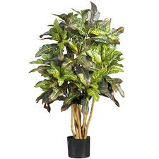 nearly natural 3 ft croton silk tree 5182 the home depot