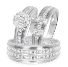 wedding ring trio sets 1 carat t w diamond trio matching wedding ring set 14k white gold