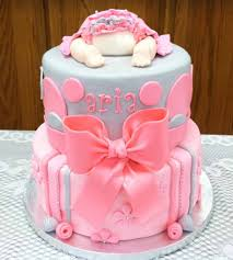 baby shower cake ideas round grey pink tiered with polka dot
