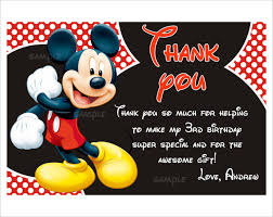 mickey mouse thank you cards best printable mickey mouse thank you cards invitation template 23