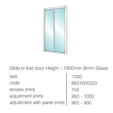 showerlux glide 8mm clear glass bi fold shower door 1000mm