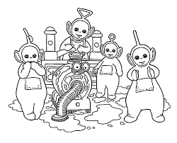 teletubbies coloring pages cleaning for kids printable free