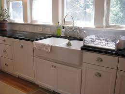 elegant kitchen with white double bowl farmhouse apron sink ikea