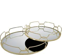 Qvc Home Decor Inspire Me Home Decor Set Of 2 14 18 Mirrored Trays Page 1