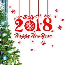 new year 2018 merry wall sticker home shop windows