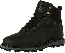 puma mens tatau fur closed toe ankle fashion boots black in black