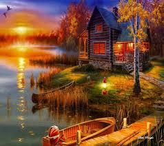 cabin on the lake thomas kinkade cottage life pinterest