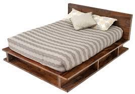 Wood Bed Frame With Shelves Reclaimed Wood Bed Modern Rustic Bed Platform Bed With Shelves
