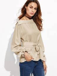 belted blouse foldover neck belted bow tie sleeve blouse shein sheinside
