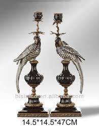 Bronze Home Decor Pair Colorful Porcelain Parrots Candle Holder Home Decor Bronze