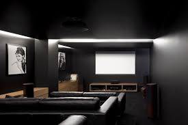 astonishing interior home theater design ideas with black leather