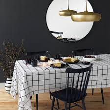 Dining Room Table Cloth Grid Black Tablecloth Unison