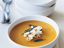 thanksgiving butternut squash soup butternut squash soup with popcorn and sage recipe scott ehrlich