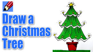 how to draw a christmas tree real easy youtube