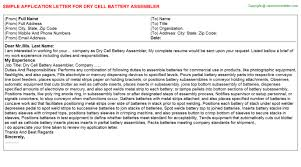 assembler dry cell and battery application letters