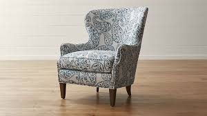 Crate And Barrel Office Chair Brielle Blue Wingback Armchair Crate And Barrel