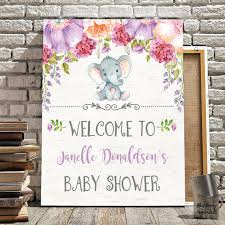 purple elephant baby shower decorations elephant baby shower welcome sign purple floral baby shower