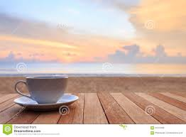 Sunrise Sunset Table Coffee Cup On Wood Table At Sunset Or Sunrise Beach Stock Photo