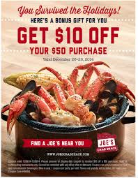 coupons for joe s crab shack joe s crab shack printable coupon get 10 50 or more my
