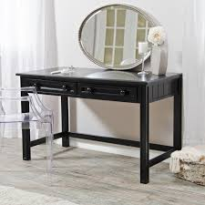 retro white wooden polished vanity mirrored desk with drawers