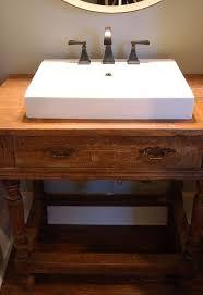 Reclaimed Wood Vanity Bathroom Reclaimed Wood Table To Vanity Hometalk