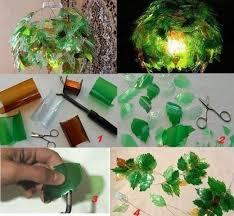 ladari in plastica ladario con le foglie recycling bottiglie di