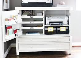 Office Cabinet With Doors Organized Printer Station Slide Out Trays Bins Attached To The
