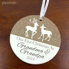 Grandparent Ornaments Personalized Our First Christmas As Grandma U0026 Grandpa Ornament Burlap Deer