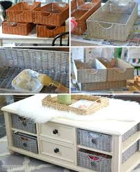 side table with wicker baskets awesome ideas for home interior