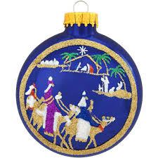 nativity on blue disk glass ornament religious christmas