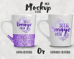 tapered latte coffee mug template mockup glitter mug