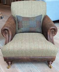 the huntsman chair in old bard leather u0026 harris tweed loden http
