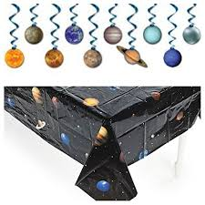 Planet Gold Decor Solar System Outer Space Party Decorations Tablecloth